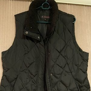 Black zip up and button up vest